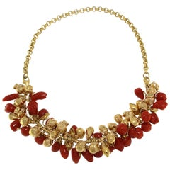 Coral and 18 Karat Yellow Gold Fruit Necklace