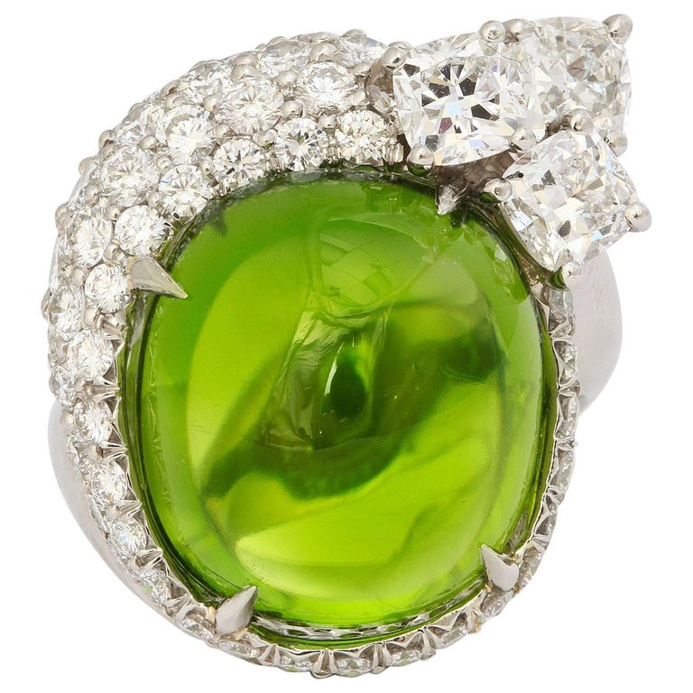 Cabochon Peridot Diamond Platinum Cocktail Ring