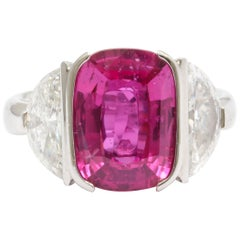 Vivid Pink Cushion Cut Sapphire Diamond Platinum Ring