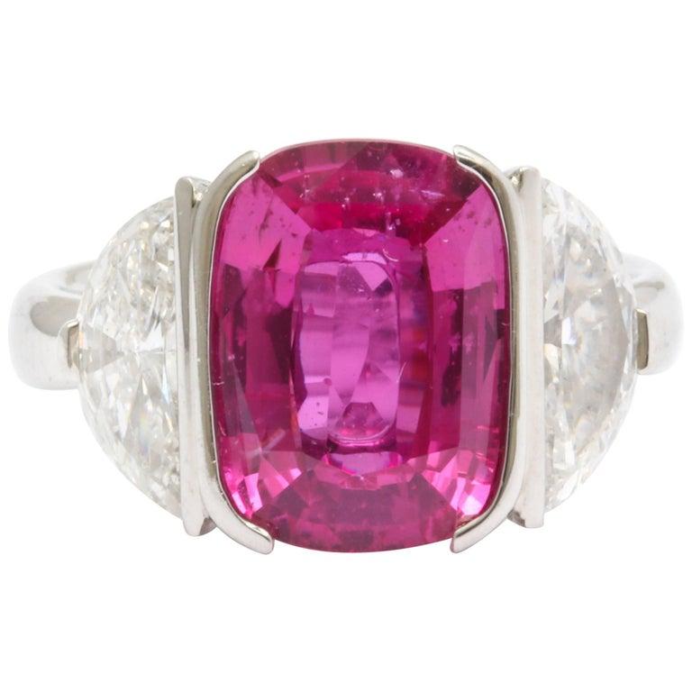 Vivid Pink Cushion Cut Sapphire Diamond Platinum Ring For Sale