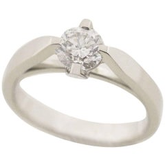 Van Cleef & Arpels 0.51 Carat Diamond Platinum Vendome Solitaire Ring  US 4