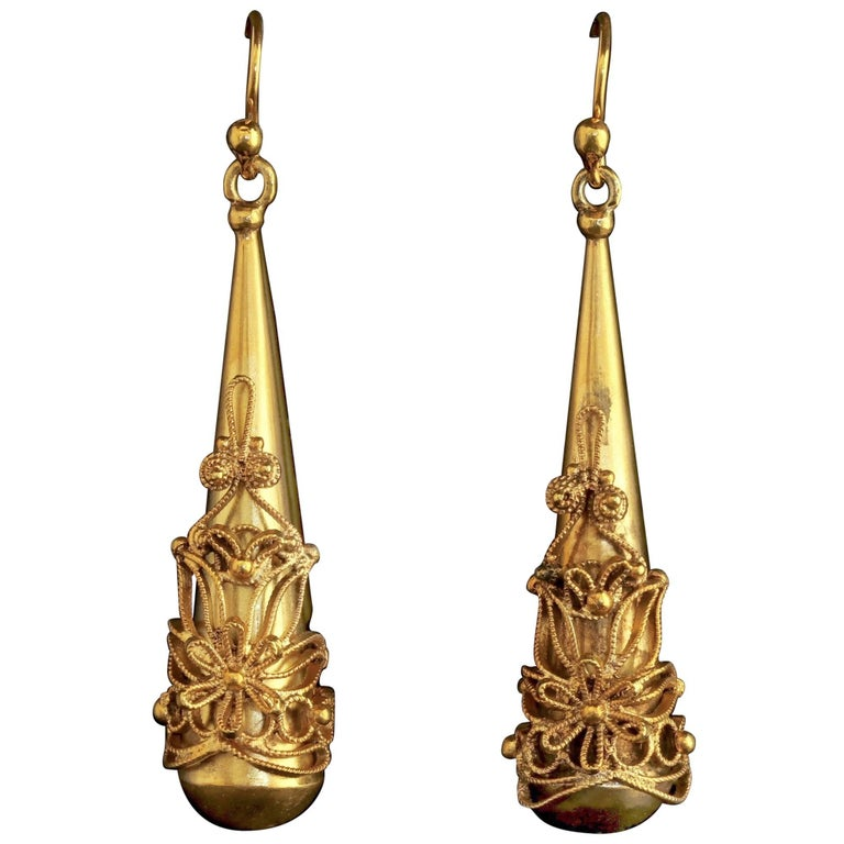 Antique Georgian Large 18 Carat Gold on Silver Earrings