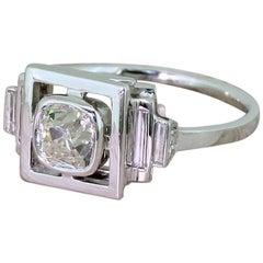 Art Deco 0.90 Carat Old Cut Diamond Solitaire Ring