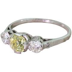 Art Deco 1.32 Carat Fancy Greenish Yellow and White Old Cut Diamond Trilogy Ring