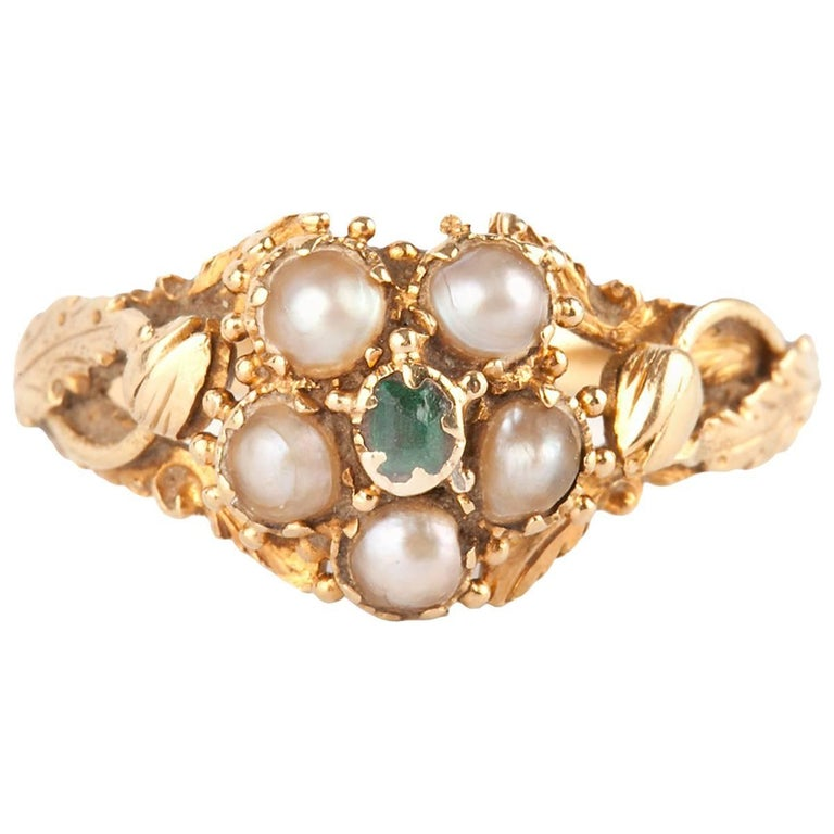 Georgian Natural Pearl and Emerald Cluster Ring