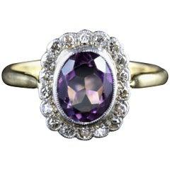 Antique Victorian Amethyst Diamond Cluster Ring, circa 1900