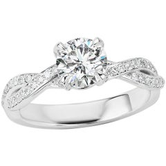GIA Certified 1.01 Carat Round Brilliant Cut Diamond Engagement White Gold Ring