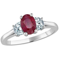 1.15 Carat Ruby and Diamond Platinum Ring