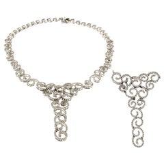 18 Karat White Gold and White Diamond Necklace
