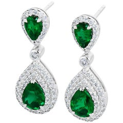 2.04 Carat Total Emerald and Diamond 18K White Gold Earrings