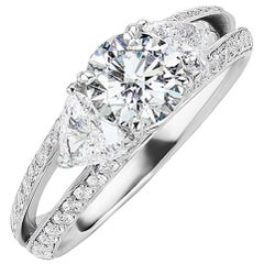 GIA Certified 1.01 Carat Round Brilliant & Trillion Cut Diamond Engagement Ring