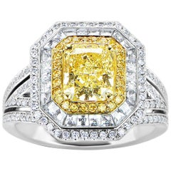 GIA Certified 1.53 Carat Radiant Cut Natural Fancy Yellow Diamond Ring