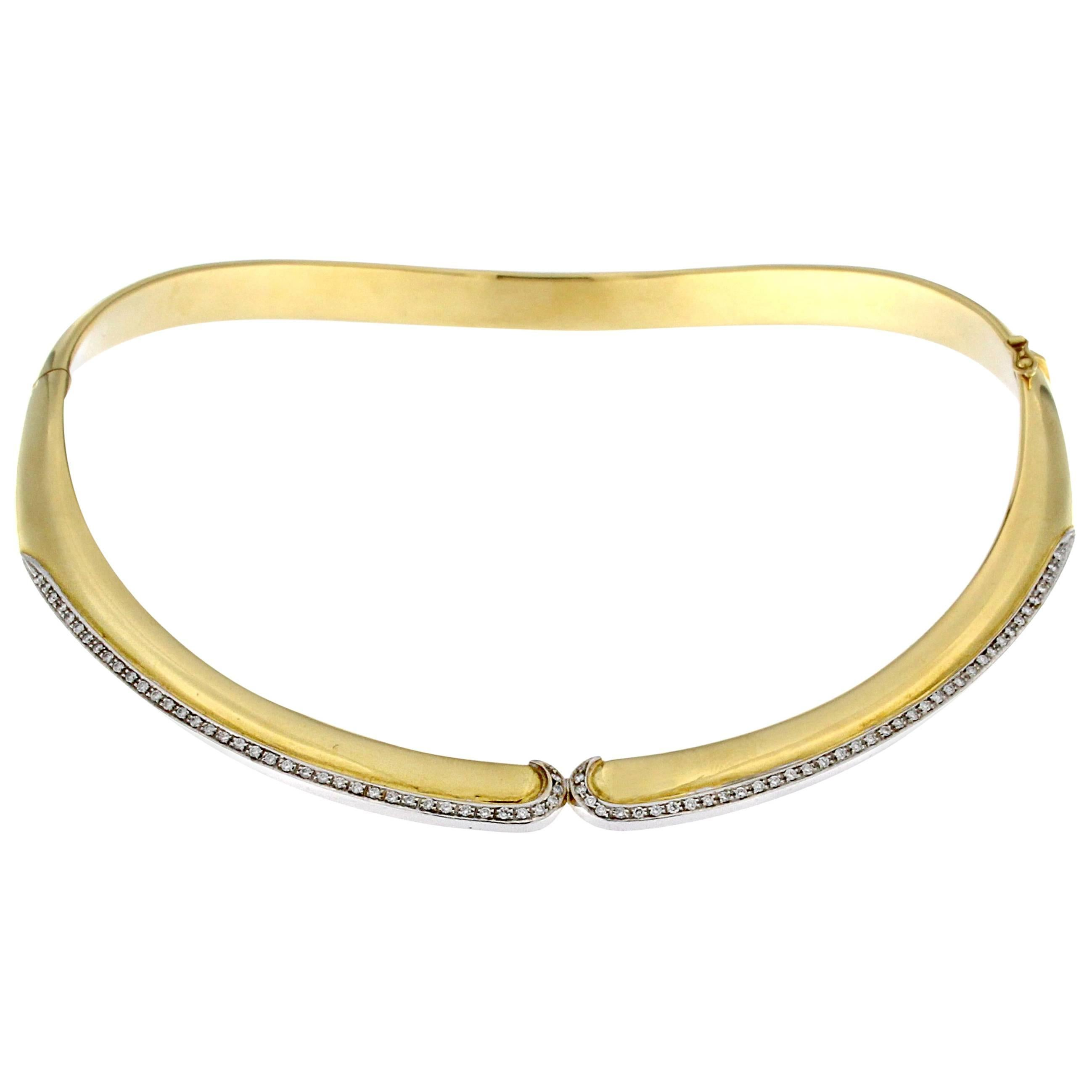 Rigid Collar in 18 Karat Yellow Gold and White Diamond Part over Yellow Gold