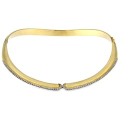 Rigid Collar in 18 Karat Yellow Gold and White Diamond Part over Yellow Gold