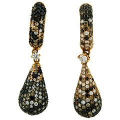 Adamas Black, White and Champagne Diamond 18 Karat Yellow Gold Drop Earrings