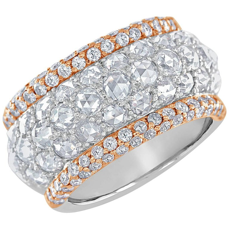 Rose Cut Diamond and Pink Diamond Platinum and Rose Gold Band Ring