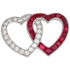 Oscar Heyman Mid-20th Century Diamond and Ruby Double Heart Brooch