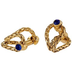 Boucheron Paris Mid-20th Century Sapphire and Gold Stirrup Cufflinks