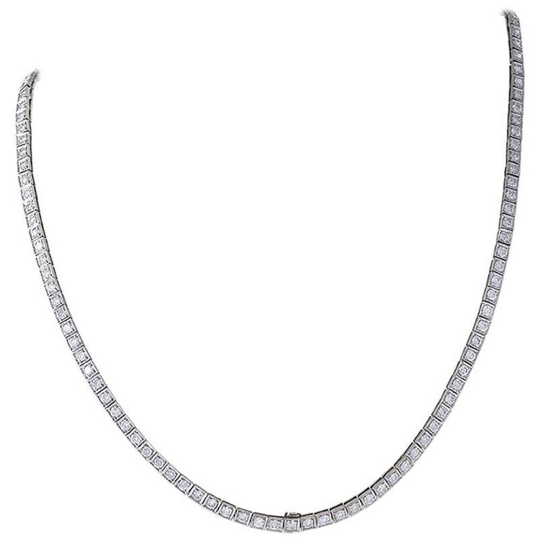 1950s Diamond and Platinum Line Necklace