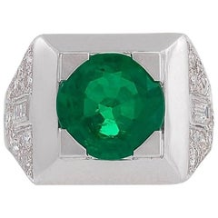 Cartier Paris 1960s Century Emerald Diamond and Platinum Ring