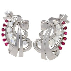 Raymond Yard Retro Moonstone, Ruby, Diamond and Platinum Brooches 'Dress Clips'