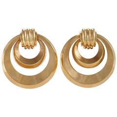 Gold Double Hoop Doorknocker Earrings
