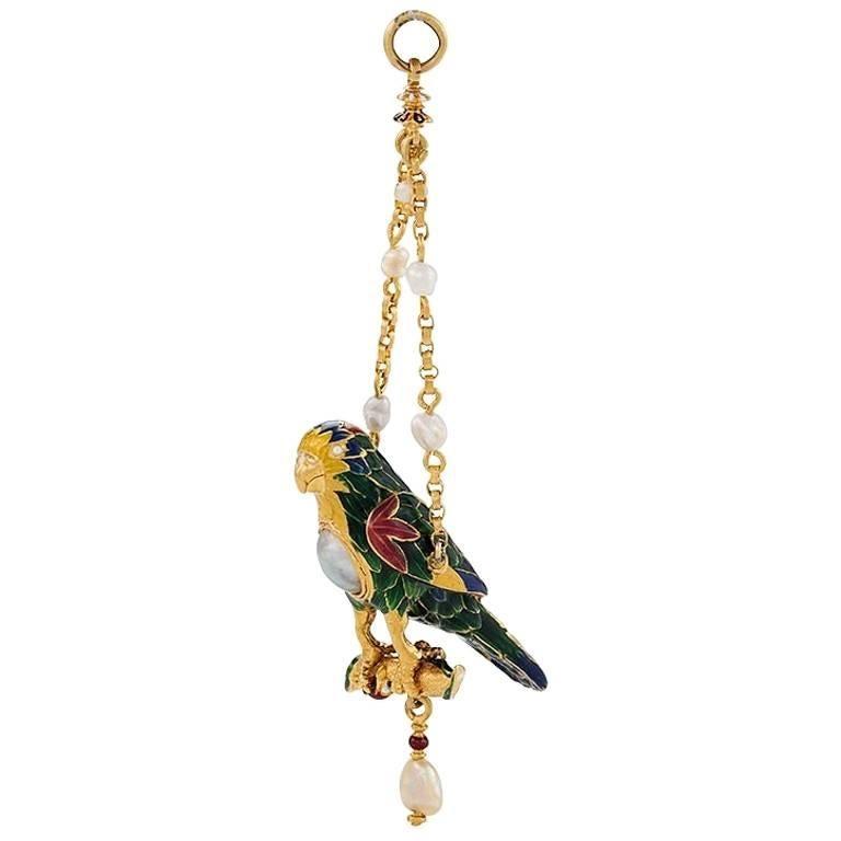 Antique Pearl, Gold and Enamel Parrot Pendant
