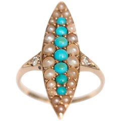 Antique Turquoise Pearl  Diamond Gold Engagement Ring