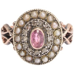 Early Victorian Pink Tourmaline, Diamond and Pearl Cluster Ring