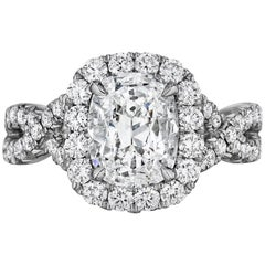 GIA Certified 0.71 Carat Cushion Cut Diamond Halo Engagement Ring