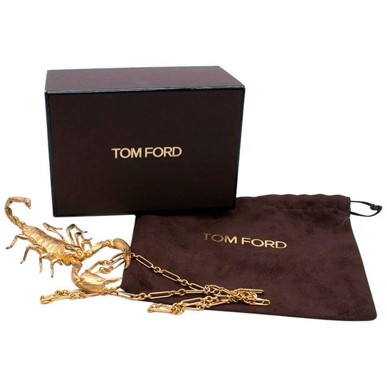 Tom Ford 14 Karat Yellow Gold and Brass Scorpion Necklace