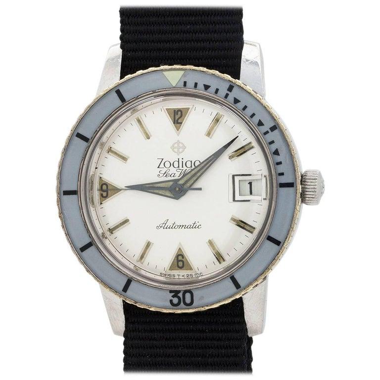 Zodiac Stainless Steel Seawolf Self Winding Wristwatch, circa 1960s For Sale