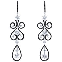 7.80 Carat Black Diamond Chandelier Earrings