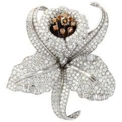Very Large Diamond Orchid Brooch