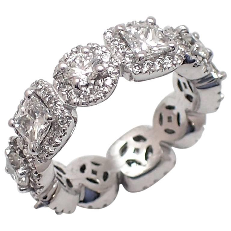 Round and Princess Cut Halo Eternity Band in Platinum