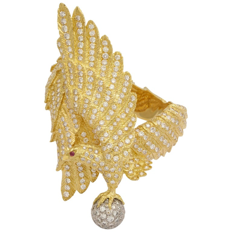 Greek Diamond Eagle Bracelet For