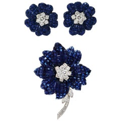 Van Cleef & Arpels Mystery Set Sapphire and Diamond Brooch and Earrings Set
