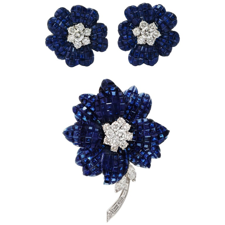 Van Cleef & Arpels Mystery Set Sapphire and Diamond Brooch and Earrings Set 1