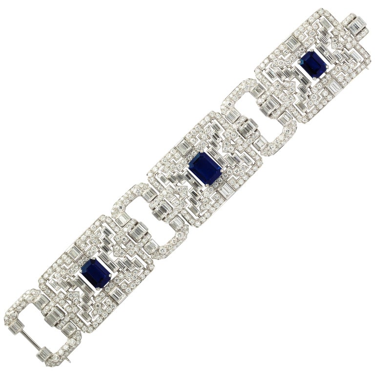 Important Wide Art Deco Diamond and Sapphire Bracelet
