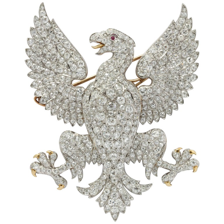 Edwardian Marquis of Anglesey Crest Diamond Eagle Brooch  For Sale