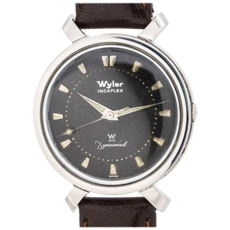 "Wyler Stainless Steel Incaflex ""Bowtie"" manual Wristwatch, circa 1960s"