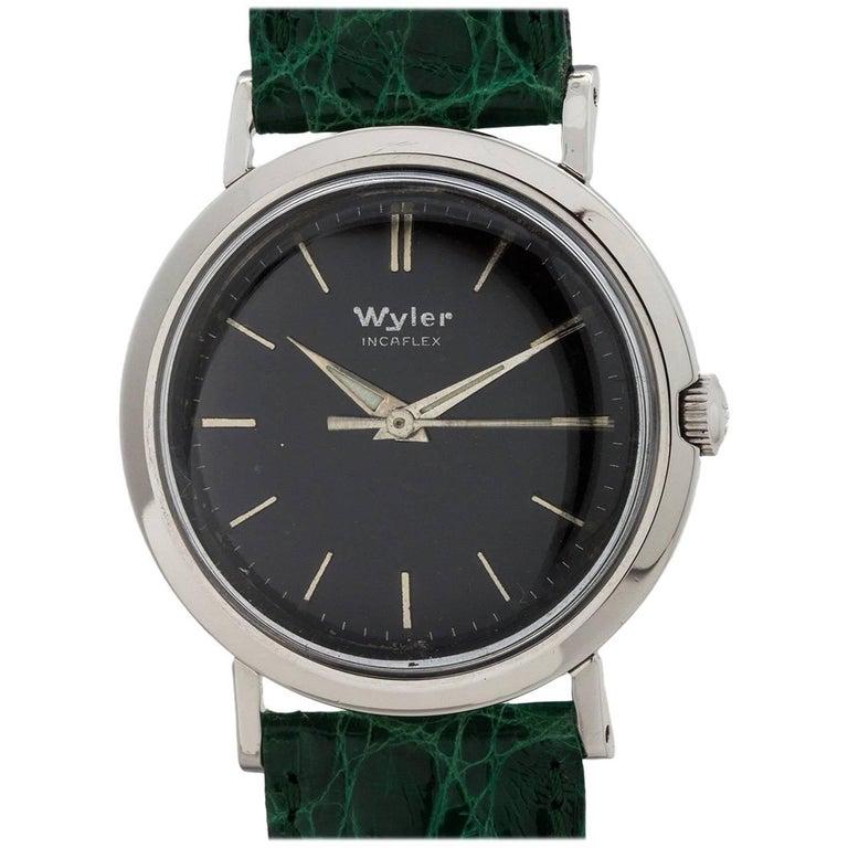Wyler Stainless Steel Manual Wind Dress Wristwatch, circa 1960