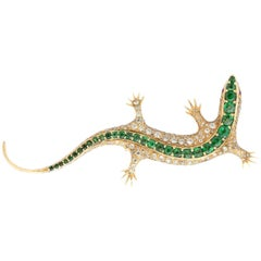 Estate Tsavorite and Diamond Salamander Brooch