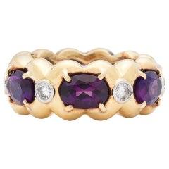 Estate Verdura Amethyst and Diamond Eternity Ring
