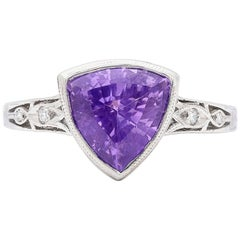 Exceptional Unheated Natural Bluish Violet Sapphire 3.38 Carat Ring