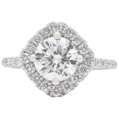 GIA H/VS1 1.50 Carat Round Diamond Halo Engagement Ring