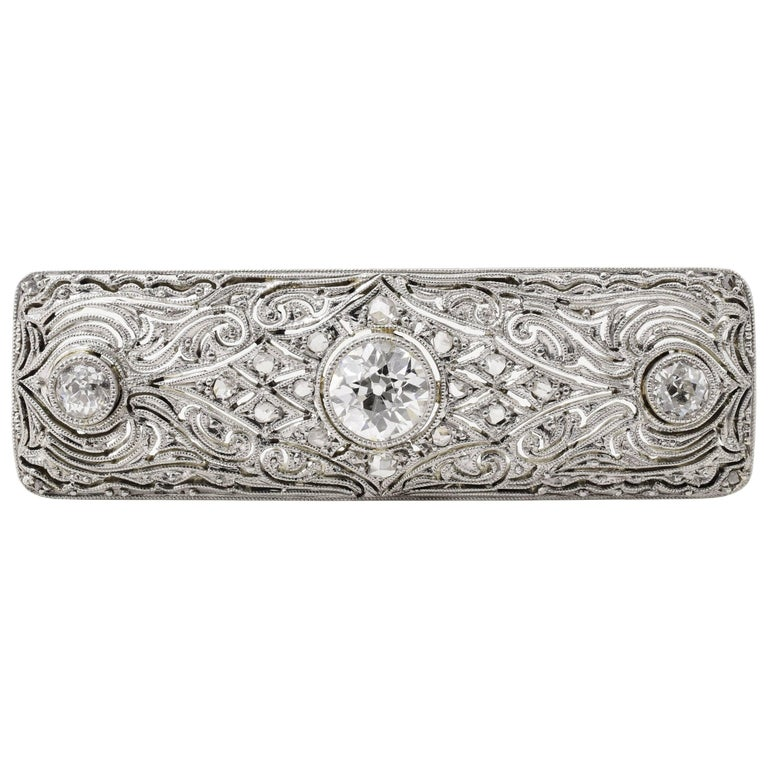 1930s Diamond Platinum Brooch