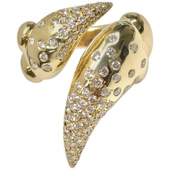 Latreia by Mana Matsuzaki Big Claw Diamond Unisex Ring in 18 Karat YG