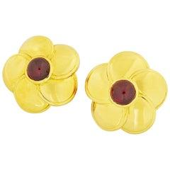Van Cleef & Arpels 18 Karat Yellow Gold Flower Motif Ruby Earrings