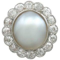 Antique 1930s Mabe Pearl and 1.90 Carat Diamond, Platinum Cluster Ring